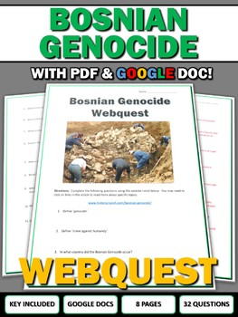 Bosnian Genocide (Yugoslavia) - Webquest with Key (Google Doc Included)