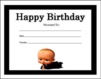 Boss Baby Birthday Certificates (Includes 4 Birthday Certificates)