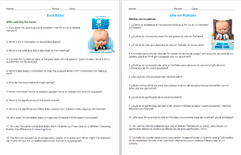 Boss Baby Movie Guide Questions in English and Spanish