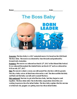Boss Baby - Movie review article lesson facts plot questions