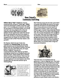 Progressive Era: Boss Tweed and the Tammany Hall Ring Reading and Questions