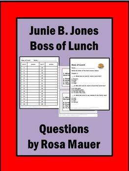 Junie B. Jones Boss of Lunch Reading Comprehension