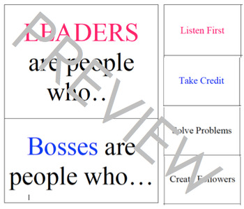 Boss vs. Leader Character Traits; sorting and visual