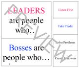 Boss vs. Leader Character Traits; sorting and visual