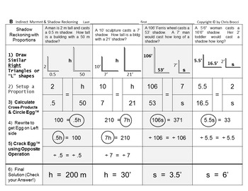 Brocci Bundle Proportions: Indirect Measurement Similar Tri Shadow Reckoning