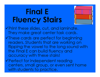 Bossy E Fluency Stair Cards
