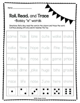 Bossy E Roll, Read, Trace--Freebie!