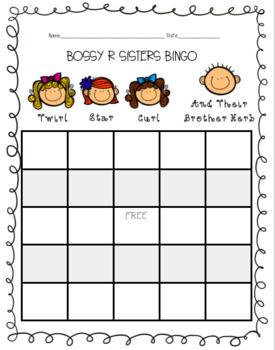 Bossy R (AR, ER, IR, and UR) Word Sort and BINGO card