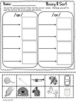 Bossy R Literacy Activities and Printables