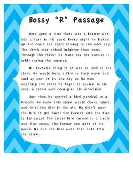 """Bossy """"R"""" ~R Controlled Vowel Passage for Highlighting."""