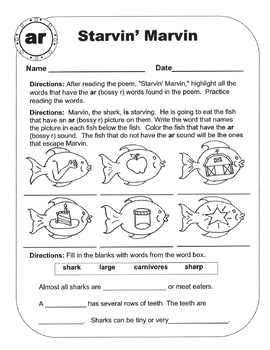 Bossy R (R-Controlled Vowel Sound /ar/) Original Poems and Worksheets