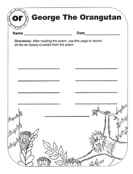 Bossy R (R-Controlled Vowel Sound /or/) Original Poems and Worksheets