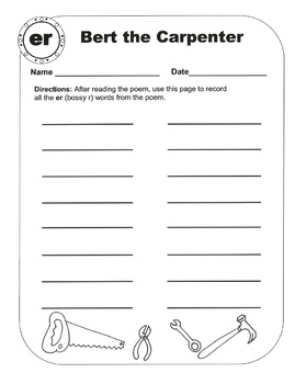 Bossy R (R-Controlled Vowel Sounds /ir, er, ur/) Original Poems and Worksheets