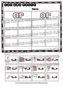 Bossy R Sorts -ar, -or   Cut and Paste Worksheets