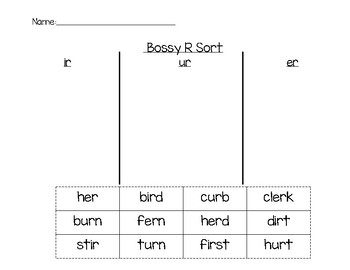 Bossy R Word Sort