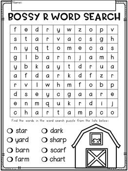 Bossy R Word Work (ar) Phonics Printables