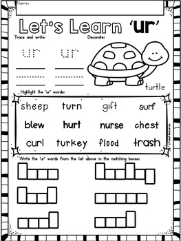 Bossy R Word Work (ur) Phonics Printables