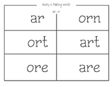 Bossy R -ar and -or Making Words Mat and Sort Recording Sheet