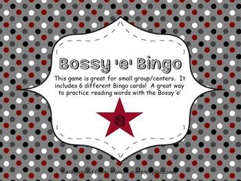 Bossy 'e' Bingo