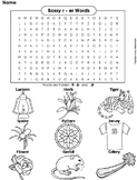 R Controlled Vowels: Bossy r Worksheet/ er Words Coloring Sheet/ Word Search