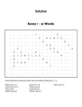 R Controlled Vowels: Bossy r Worksheet/ ur Words Coloring Sheet/ Word Search