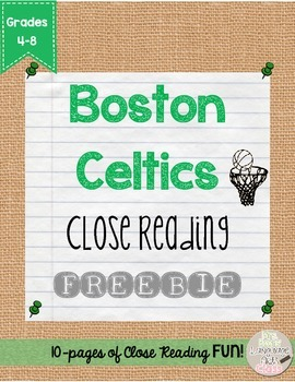 Boston Celtics and Larry Bird Close Reading FREEBIE