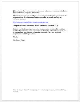 Boston Massacre (British Perspective) Primary Source Worksheet