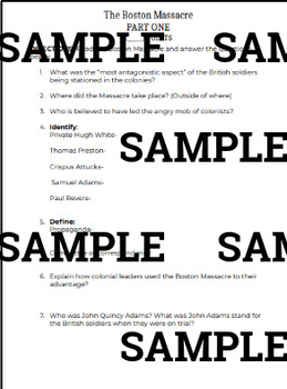 Boston Massacre: Choice Board & Propaganda Projects