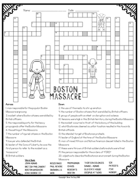 boston massacre crossword by bow tie guy and wife tpt. Black Bedroom Furniture Sets. Home Design Ideas