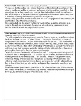 Boston Massacre DBQ - American Revolution - Primary Source Analysis