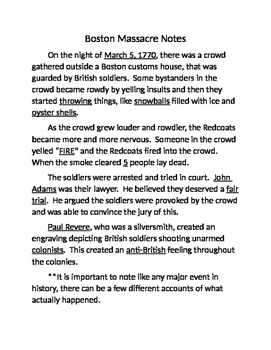Boston Massacre Guided Notes