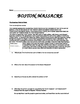 Boston Massacre Primary Sources
