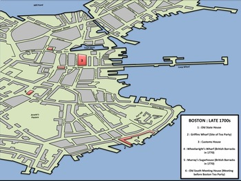 map of boston tea party Boston Massacre Tea Party Map By Mrgrayhistory Tpt map of boston tea party