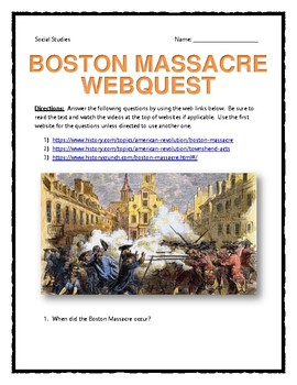 Boston Massacre - Webquest with Key