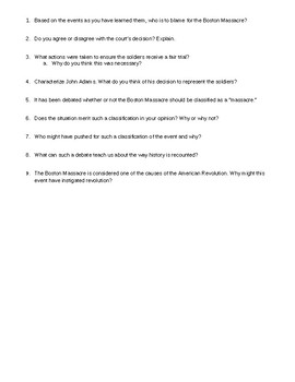 Boston Massacre questions
