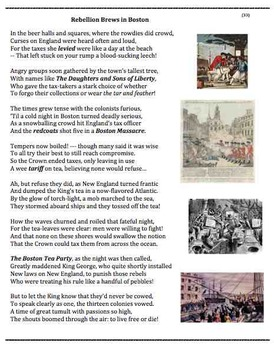 boston tea party 33 poem worksheets puzzle by andy almonte. Black Bedroom Furniture Sets. Home Design Ideas