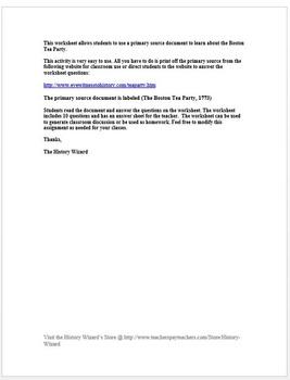 Boston Tea Party American Revolution Primary Source Worksheet