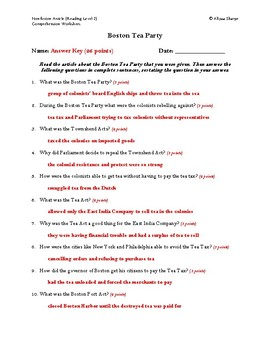Boston Tea Party Article (Reading Level 2) Comprehension Worksheet