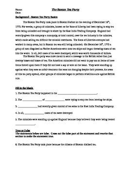 Boston Tea Party Basics Worksheet