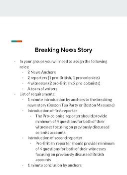 Boston Tea Party/ Boston Massacre News Report
