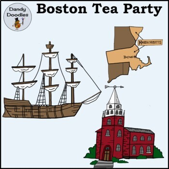 Boston Tea Party Clip Art by Dandy Doodles