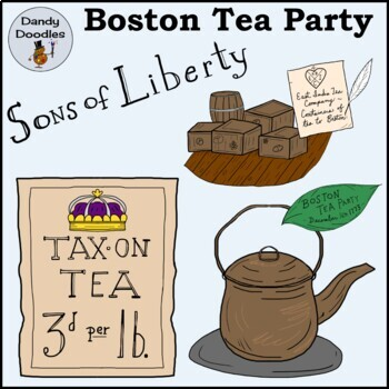 Boston Tea Party Clip Art by Dandy Doodles
