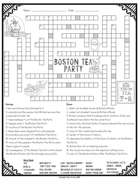 Boston Tea Party Crossword
