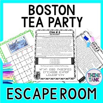 Social studies escape room teaching resources teachers pay teachers boston tea party escape room causes of the revolutionary war print fandeluxe Gallery