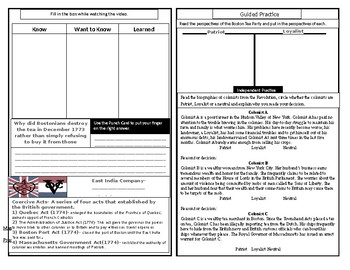 Boston Tea Party Guided Notes Booklet