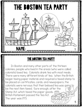 Boston Tea Party {Mini Book & Activities} Vocabulary, Posters, Editable!
