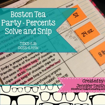Boston Tea Party Percents Solve and Snip- Common Core