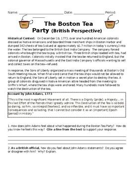 Boston Tea Party Perspective Activity- British