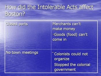 Boston Tea Party -- PowerPoint, Notes, Worksheet