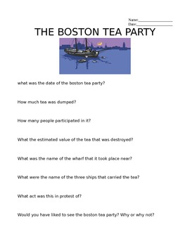 boston tea party questions by dan hemdal teachers pay teachers. Black Bedroom Furniture Sets. Home Design Ideas